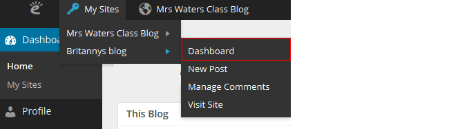 Click on dashboard