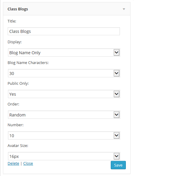 Class blog widget settings