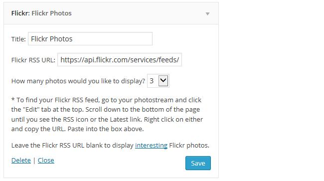 Flickr Widget Setitngs