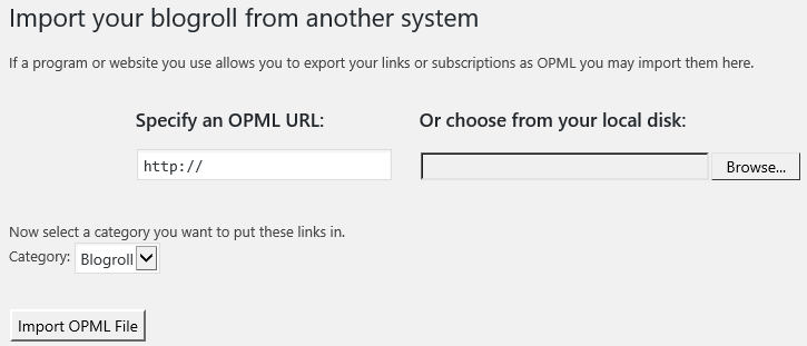 Add your OPML URL