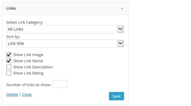 Links Widget settings