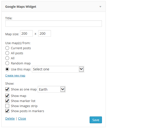 Google Maps Widget Settings