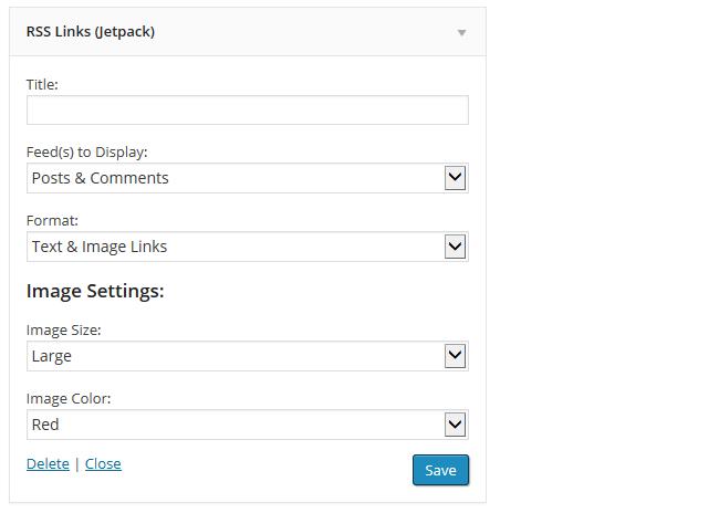 RSS Links Widget Settings
