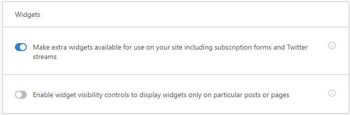 Enable Extra widgets