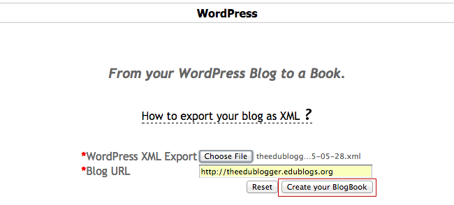 Click on Create your blogbook