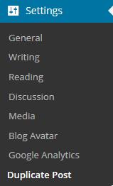 Duplicate posts settings