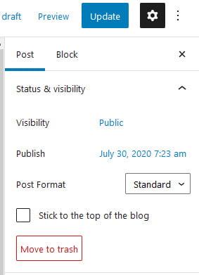 Trash link in block editor