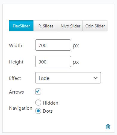 Select slideshow settings