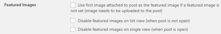 Feature image options