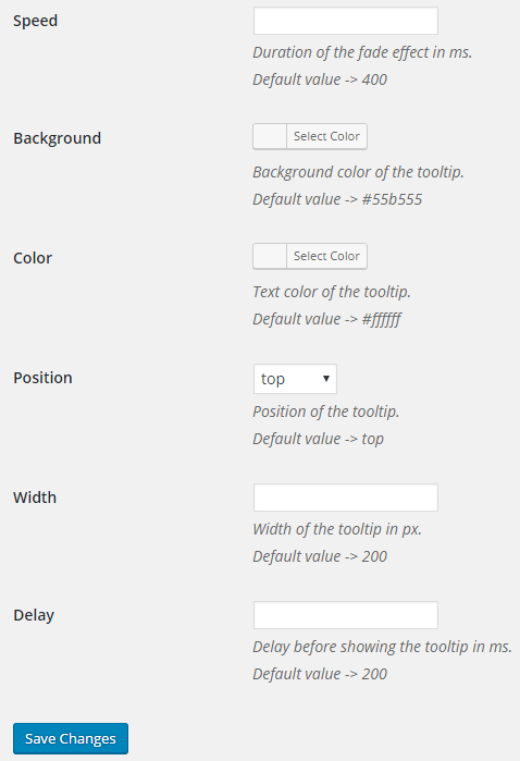 Tooltips setting options