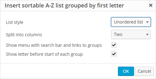Select AZ List options