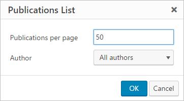 Publication list options