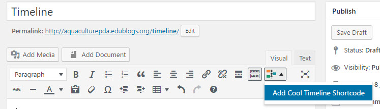 Timeline shortcode icon