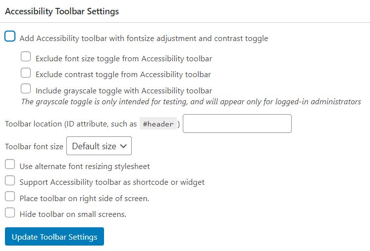 Accessibility Toolbar