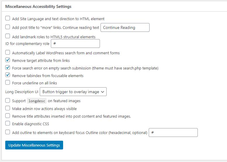 Miscellaneous settings