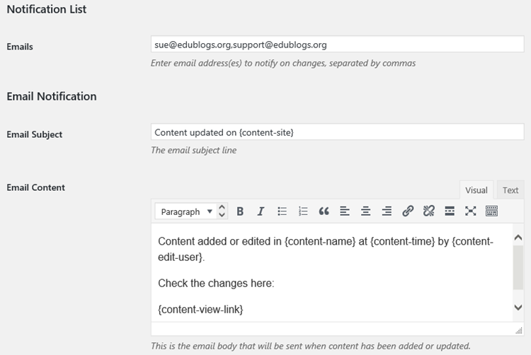 Content notifications email settings