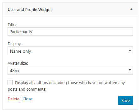 User and Profile widget