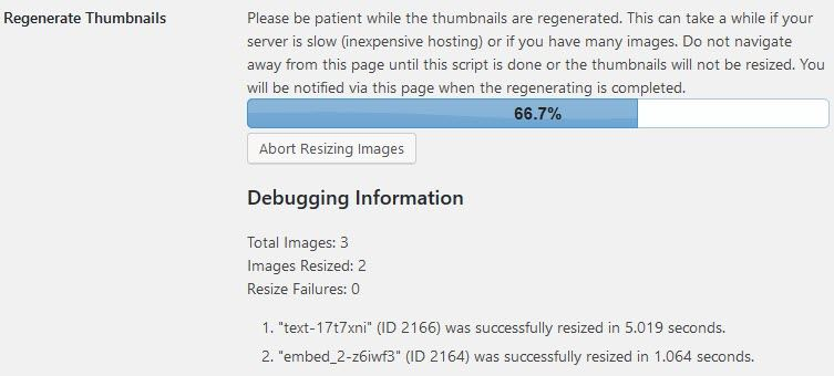 Regenerate Thumbnails Progress status