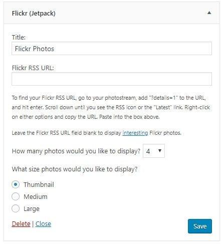 Flickr Widget Settings