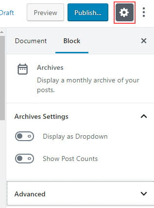 Archive Settings