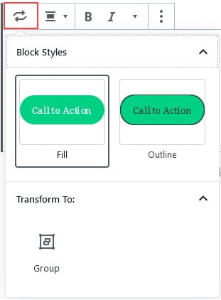 Change Block Type or Style