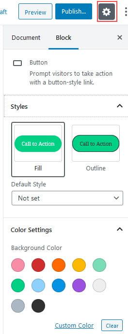 Block Settings options
