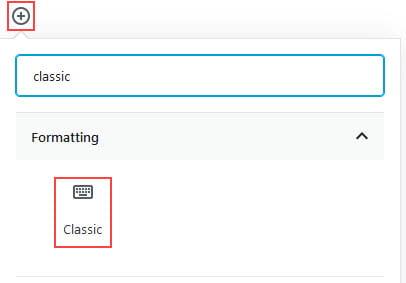 Add Classic Block