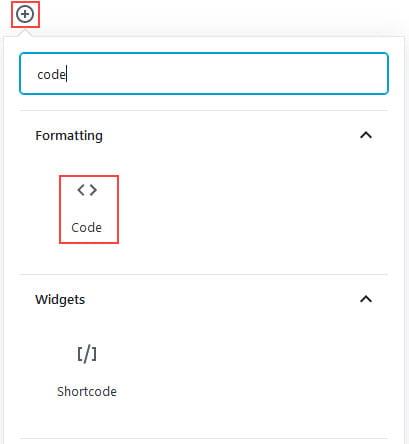 Add code block