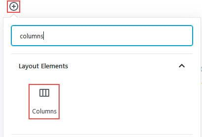 Add columns block