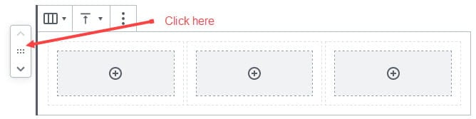 Click on outside of column block