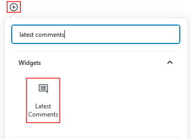 Add Latest comments block