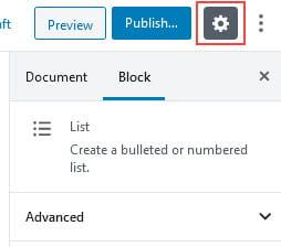 List Block Settings