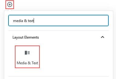 Add Media & Text block