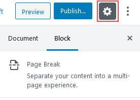 Page Break Block Settings