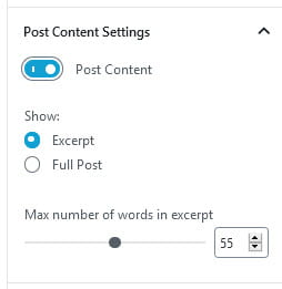 Post Content Settings