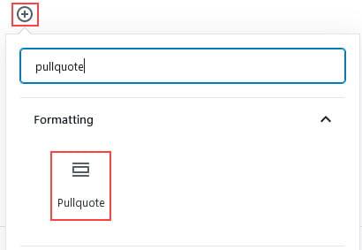 A pullquote block
