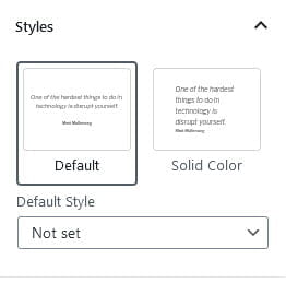 Pullquote style options