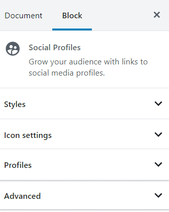 Social Profile block styling