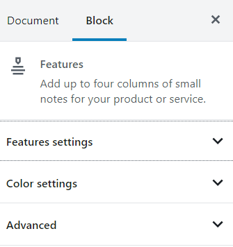 Features block styling