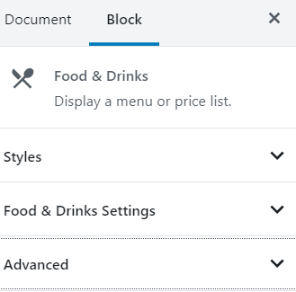 Food and drinks block styling