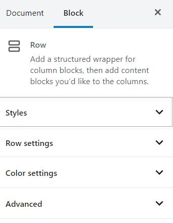 Row block styling