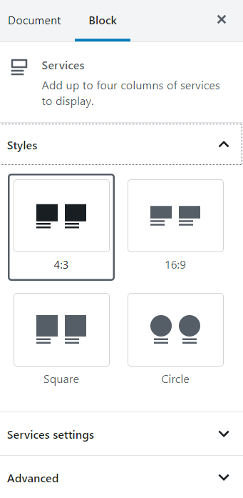 Services block styling