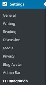 LTI Integration settings