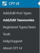 Add/Edit Taxonomies