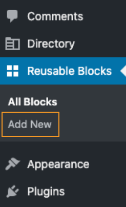Go to Add New Reusable block