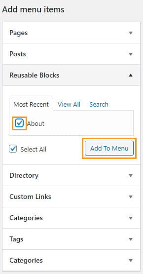 Select the reusable block menu item