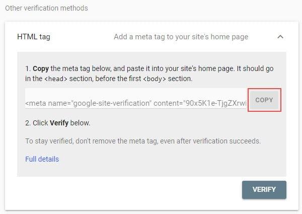 Copy the meta tag