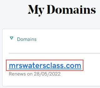 Click on domain name