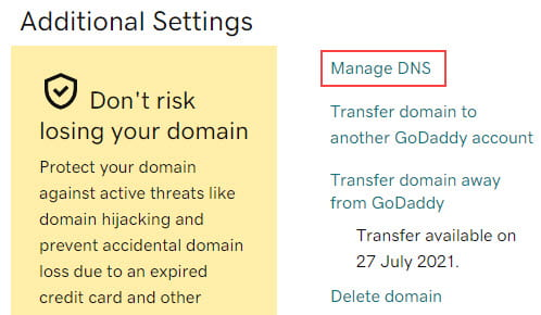Click on Manage DNS
