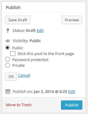 Post visibility in publish module